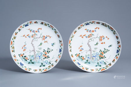 A pair of Chinese famille verte dishes with floral