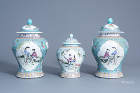 Three Chinese famille rose turquoise ground vases and