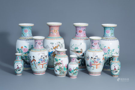 A varied collection of ten Chinese famille rose vases,