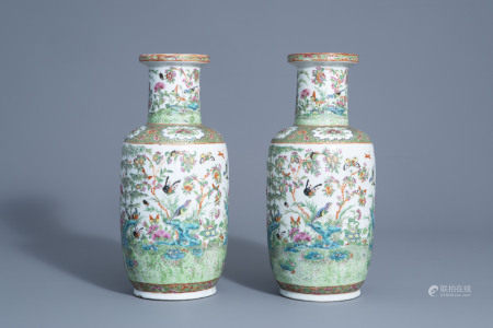 A pair of Chinese Canton famille rose vases with birds
