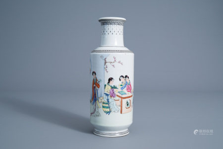 A Chinese famille rose rouleau vase with ladies in a