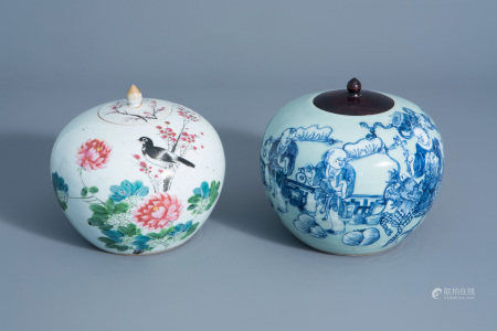 Two Chinese qianjiang cai and blue and white on celadon