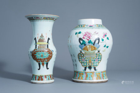 Two Chinese famille rose vases with antiquities design,