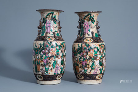 A pair of Chinese Nanking crackle glazed famille rose