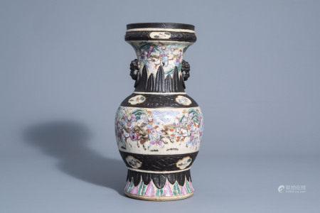 A Chinese Nanking crackle glazed famille rose 'warrior'