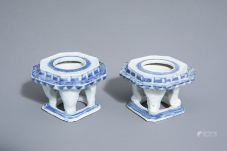 A pair of Japanese blue and white octagonal four legged