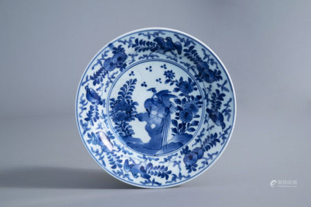 A Japanese blue and white plate with birds on