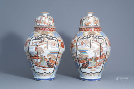 A pair of large Japanese Arita porcelain vases and