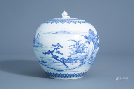 A Japanese blue and white Hirado jar and cover with
