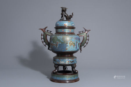 A large Japanese champlevé enamel and bronze incense