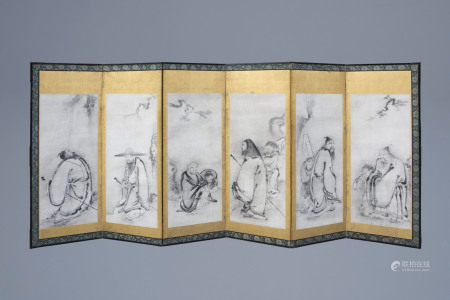 A Japanese room divider with six painted panels with