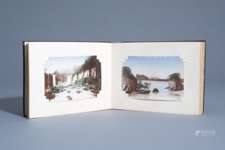 A 'Fuji' album of hand coloured Japanese photographs,