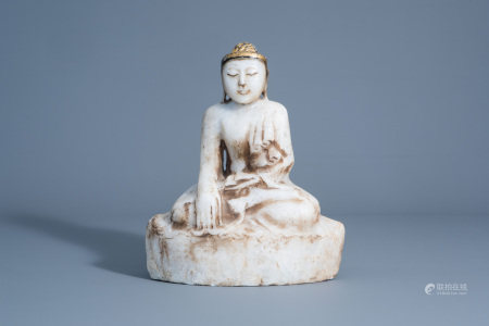 A gilt decorated alabaster figure of Buddha, Burma,
