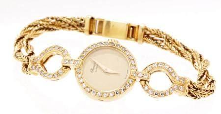 Chopard Genève, 18k gold ladies wristwatch with 63 brillian