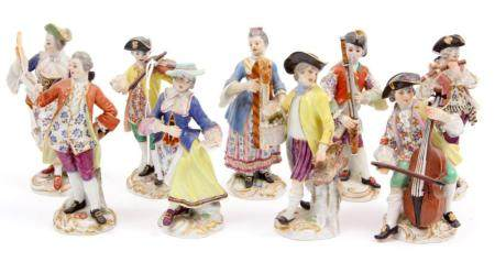 9 Old polychrome Meissen porcelain statues of a music playin