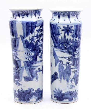 Two blue / white with Arita porcelain collar vases decorated