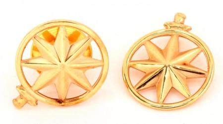 Tiffany & Co., two 14k gold ship's pin and a ship's pendant,