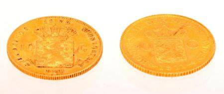 2 Fine gold 10 guilder coins, 1911 and 1875, total 13.42 gra