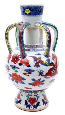 Chinese porcelain water sprinkler with Wucai decoration of a