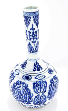 Antique blue/white Chinese porcelain stem vase, h.25 cm.