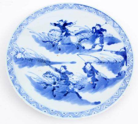 Blue / white Chinese porcelain dish, 19th century, marked on