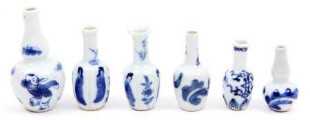 6 Antique blue / white Chinese porcelain etagère vases, inc