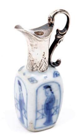 Miniature blue / white Chinese porcelain vase with Long Liza