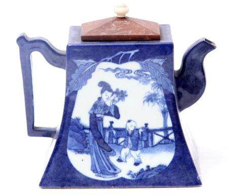 Antique blue and white Chinese porcelain teapot decorated wi