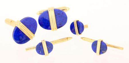 Two 14k gold cufflinks set with lapis lazuli, 2 collar butto