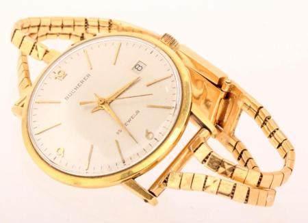 Bucherer, vintage men's wristwatch with gold case and 18k go