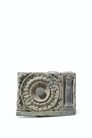 A GREEN SCHIST DECORATIVE RELIEF WITH A LOTUS AND COLUMN