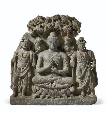 A RARE AND MAGNIFICENT GRAY SCHIST RELIEF TRIAD OF BUDDHA SHAKYAMUNI WITH BODHISATTVAS