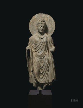 A GRAY SCHIST FIGURE OF BUDDHA SHAKYAMUNI