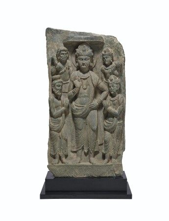A RARE GREEN SCHIST RELIEF OF SIDDHARTHA WITH ADORANTS