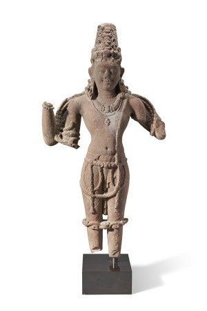 A RED SANDSTONE FIGURE OF VISHNU