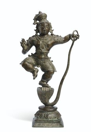 A LARGE BRONZE FIGURE OF KRISHNA KALIYADAMAN
