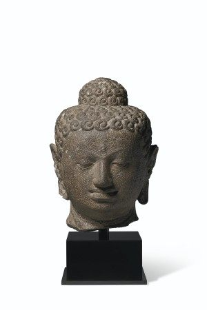 AN ANDESITE HEAD OF BUDDHA