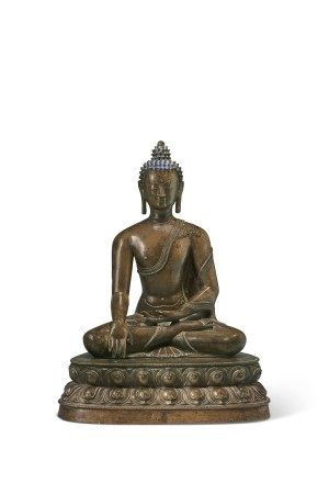A LARGE BRONZE FIGURE OF BUDDHA SHAKYAMUNI