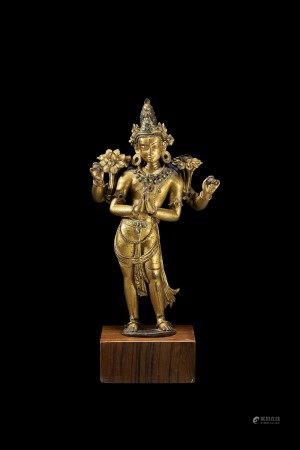 A GILT-COPPER FIGURE OF AVALOKITESHVARA