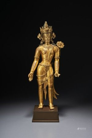 AN IMPORTANT GILT-COPPER FIGURE OF PADMAPANI LOKESHVARA