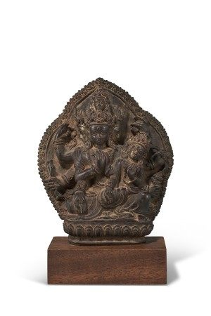 A BRONZE VOTIVE PLAQUE WITH MAHARAGAVAJRA MANJUSHRI AND CONSORT