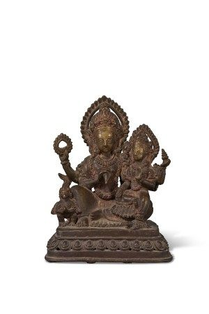 A BRONZE GROUP OF LAKSHMI NARAYANA