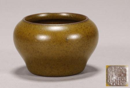 "Tea Color Brushwash with ""Qing Qianlong"" Stamp"