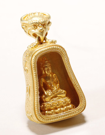Qing Dynasty - Pure Gold Buddha Pendant
