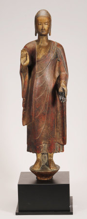 Northern Wei - Stone with Gold Paint Buddha Statue