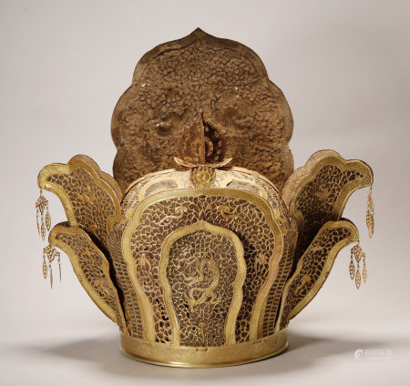 Liao Dynasty  - Pure Gold Dragon and Phoenix Crown