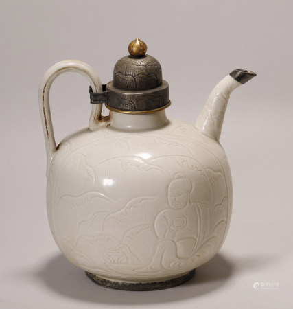 Liao Dynasty  - Ding Ware Wrap Silver Kettle