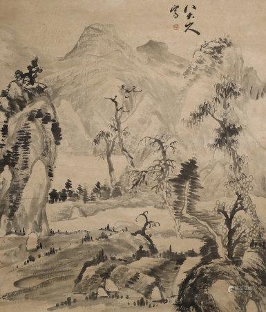 "Qing Dynasty ""Bada Shanren"" Shanshui Painting"