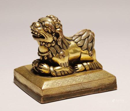 Qing Dynasty - Gilt Lion Shape Seal