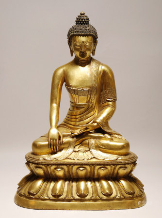 Qing Dynasty - Gilt Gautama Buddha Statue